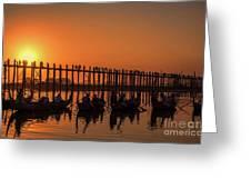 Myanmar. Taungthaman Lake. U Bein Bridge. Sunset. Greeting Card