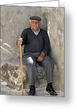 Mykonos Man With Walking Stick Greeting Card