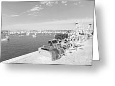 Mylor Quay In Cornwall Monochrome Greeting Card