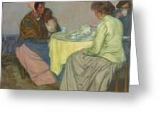 Myron G. Barlow 1873 - 1937 Dutch Women Drinking Coffee Greeting Card