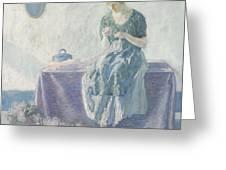 Myron G. Barlow 1873 - 1937 Peasant Sewing Greeting Card