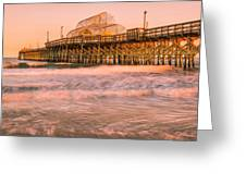 Myrtle Beach Apache Pier At Sunset Panorama Greeting Card