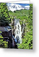 Myrtle Falls And Mount Rainier Greeting Card