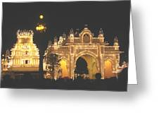 Mysore Palace Main Gate Temple Gloriously Lit At Night Greeting Card