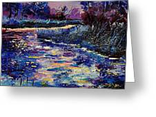 Mysterious Blue Pond Greeting Card