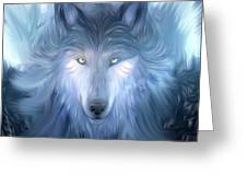 Mysterious Wolf Hand Painted Greeting Card