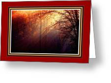 Mystic Forest At Dawn L B With Alternative Decorative Ornate Printed Frame Greeting Card