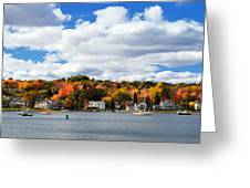 Mystic River In Autumn Greeting Card