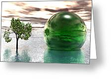 Mystic Surreal In Green Greeting Card