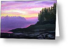 Mystical Sunset Greeting Card by Sharon E Allen