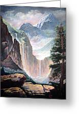 Mythical Valley Falls Greeting Card