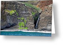 Na Pali Waterfall Greeting Card