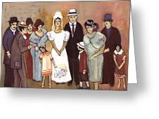 Naive Wedding Large Family White Bride Black Groom Red Women Girls Brown Men With Hats And Flowers Greeting Card