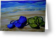 Naked Feet On The Beach Greeting Card by Patti Schermerhorn