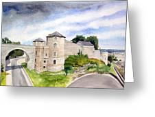 Namur, Citadelle Et Pont Des Hollandais Greeting Card