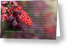 Nandina Berries Phil.4 V 8-9 Greeting Card