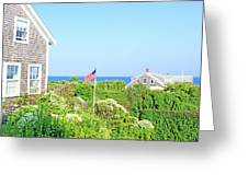 Nantucket Cottages Overlooking The Sea Greeting Card