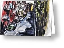 Naples City Street Greeting Card by Clyde J Kell
