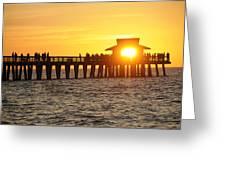 Naples Florida Sunset Pier Greeting Card