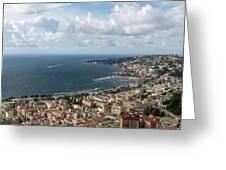 Naples Italy Aerial Perspective - Coastal Beauty Of Mergellina, Posillipo And Marechiaro Greeting Card