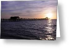 Naples Pier Sundown Greeting Card