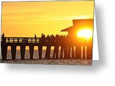 Naples Pier Sunset Greeting Card