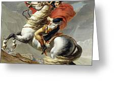 Napoleon Crossing The Alps, Jacques Louis David, From The Original Version Of This Painting  Greeting Card