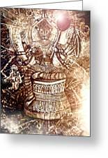 Illuminated Narasimha Dev In Sepia Greeting Card