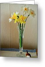Narcissus In Glass Vase Greeting Card