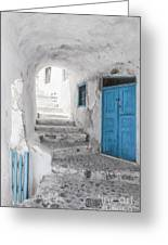Narrow Alley And Stairway On Santorini Greeting Card