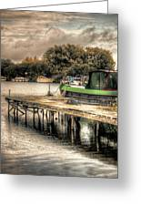 Narrow Boat And Jetty Greeting Card