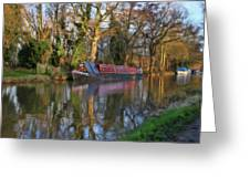 Narrow Boat On Wey Navigation - P4a16008 Greeting Card