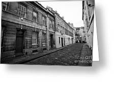 narrow cobbled old orchard street Bath England UK Greeting Card