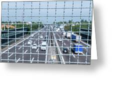 Narrow Depth Of Field Looking Down From Railing Onto Busy Highway Greeting Card