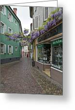 Narrow Street In Freiburg Greeting Card