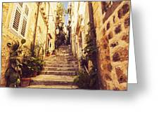 Narrow Street In Old Town Dubrovnik Greeting Card