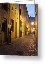 Narrow Street In Old Town Of Wroclaw In Poland Greeting Card
