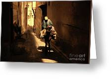 Narrow Streets Fes Male Donkey  Greeting Card