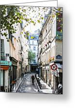 Narrow Streets Of The Latin Quarter In Paris, France Greeting Card