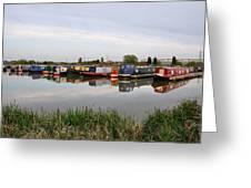 Narrowboats At Barton Marina Greeting Card
