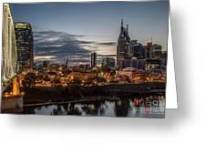 Nashville Broadway Street Shelby Street Bridge Downtown Cityscape Art Greeting Card