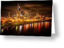 Nashville City Lights Greeting Card by Stuart Deacon