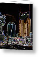 Nashville In Neon Greeting Card