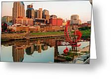 Nashville Reflections Of The Skyline Greeting Card by Gregory Ballos