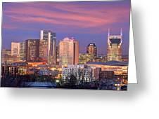 Nashville Skyline At Dusk 2018 Panorama Color Greeting Card