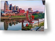Nashville Skyline - Square Format Greeting Card by Gregory Ballos