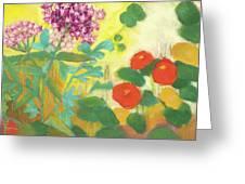 Nasturtiums, Rose Milkweed And Rue Greeting Card