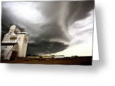 Nasty Looking Cumulonimbus Cloud Behind Grain Elevator Greeting Card