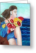 Natasha By The Sea Greeting Card by Pilar  Martinez-Byrne