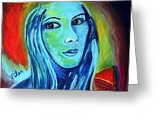 Natasha In Blue Greeting Card by Pilar  Martinez-Byrne